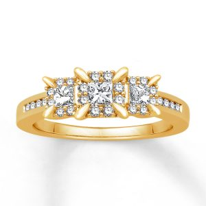 1/2 ct Diamond Engagement Ring Princess Cut 14K Yellow Gold