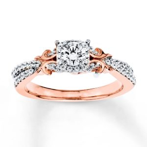 5/8 ct Round Cut Diamond Engagement Ring 14K Two-Tone Gold