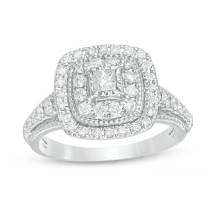 3/4 CT. T.W. Princess-Cut Diamond Engagement Ring in 14K White Gold