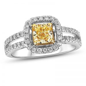 1-1/5 CT. T.W. Cushion-Cut Fancy Yellow and White Diamond Frame Engagement Ring in 18K White Gold (SI2)