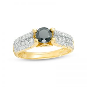 1-1/4 CT. T.W. Enhanced Black and White Diamond Multi-Row Engagement Ring in 14K Gold