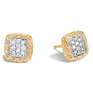 Classic Chain Diamond Pavé Stud Earrings