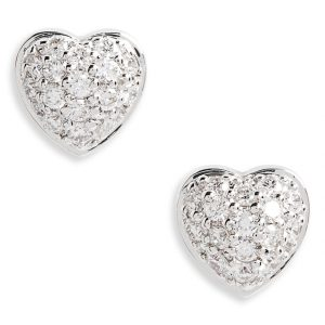 Puffed Heart Diamond Earrings